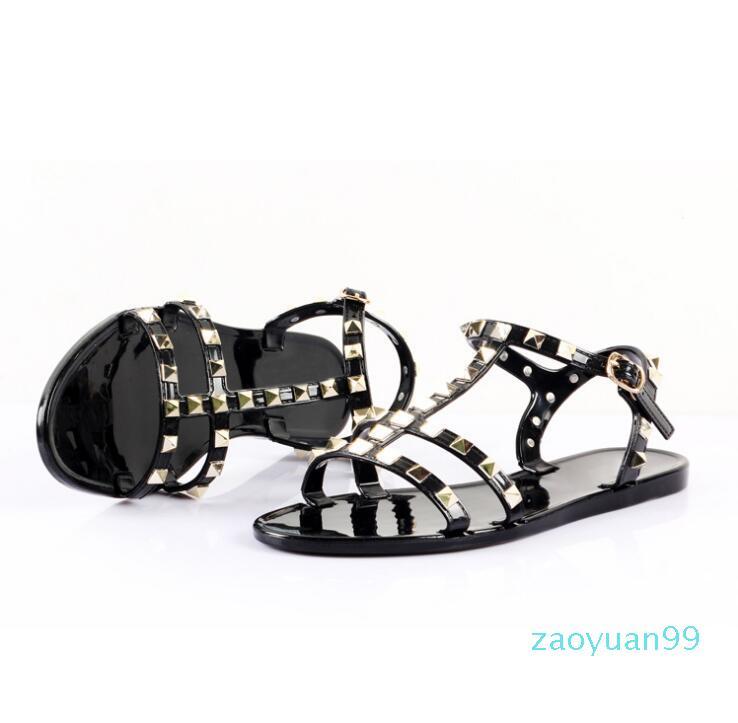 Sıcak Satış-Yeni 2020oman Yaz Sandalet Perçinler büyük ilmek Terlikler Plaj Sandalias Femininas Düz Jelly Tasarımcılar Sandalet