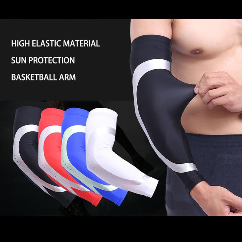 1Pcs Mens Sports Academia de silicone antiderrapante Armguards Arm Protector Basketball Elastic confortável pad Elbow Safety Sleeve