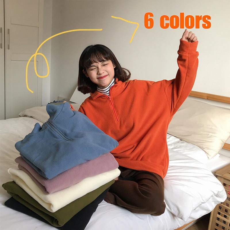 6 renk 2019 sonbahar ve kış kore tarzı gevşek düz renk fermuar balıkçı yaka ceket womens sıcak tişörtü kadın (F3888) MX200812