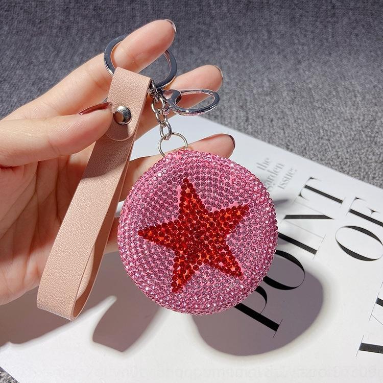 Творческая ручной алмаз зеркало цепи двухсторонней складной портативный автомобильный мешок кулон кулон Косметическое зеркало косметического ключ подарки rM7BI