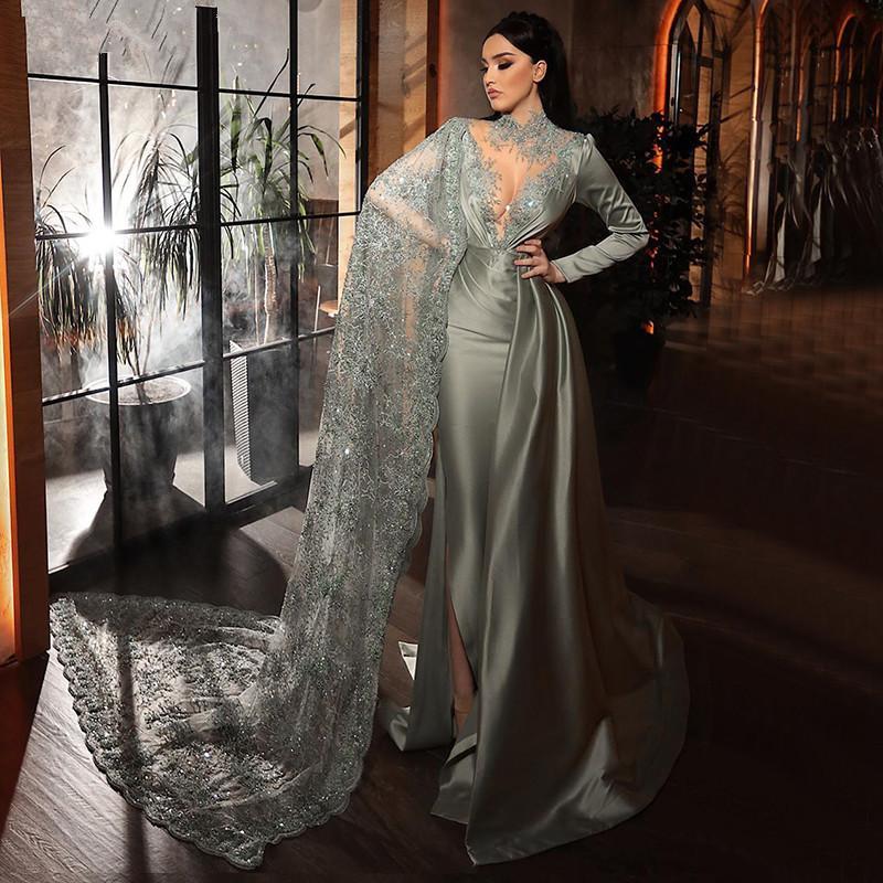 Arábia Árabe Mermaid Vestidos Side Slit 2020 cetim manga comprida vestidos de baile com filme Lace lantejoulas Red Carpet Celebrity Dress