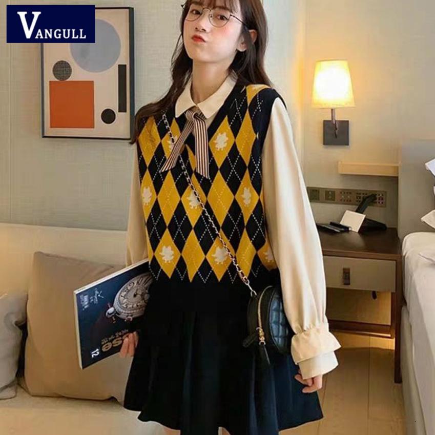 Vangull Argyle Plaid Frauen Pullover mit V-Ausschnitt Vintage gestrickte Pullover Weste neue weiche koreanische Art-lose Sleeveless Tank Tops