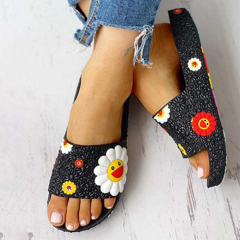 Verão Mulheres Chinelos bonito flip Flor Plano Flops senhoras macio Slides Shoes Feminino Cópia floral Bling Praia Sandals Casual 2020