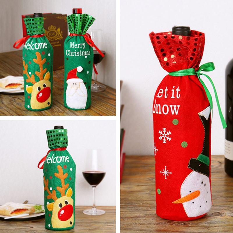 Vinho do Natal Bottle Capa roupa de Papai Noel vestido Xmas Wine Bag Natal Mesa de Jantar Decoração criativa garrafa Tampa 300pcs T1I2343