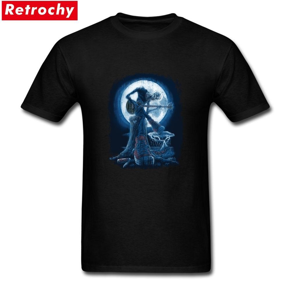 Shirt de impresión de la luna llena brilla en pantalla viejo guitarrista de Blues Equipo de impresión de algodón de manga corta camisetas más el tamaño