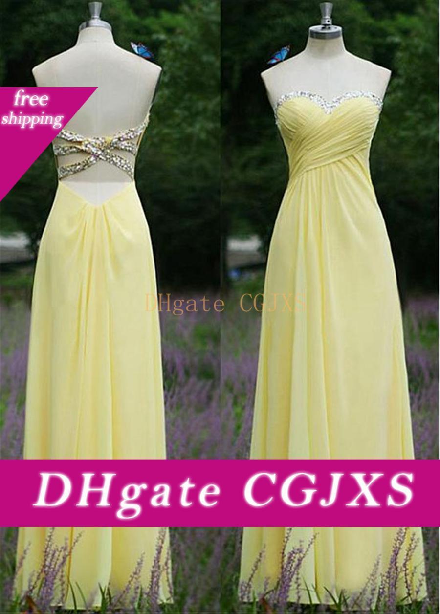 Chic Chiffon decote A Linha Prom Vestidos Crisscross Abrir volta com cristais amarelos Chiffon Vestido Longo vestido formal