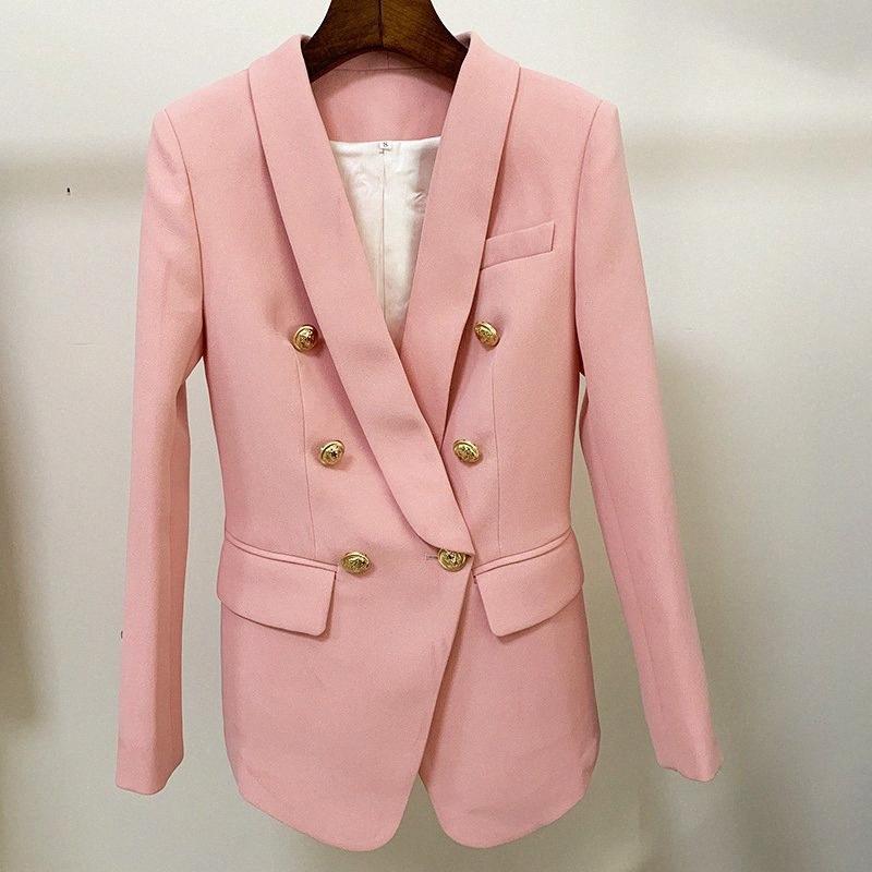 2020 2020 Yeni Pembe Blazer Kadınlar Suit Klasik Altın Çift Breasted Düğme Şal Yaka İnce Ofisi Kadınlar Blazer Ceket Yüksek Kalite oewX #