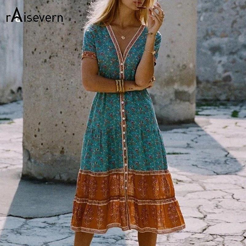 Boho Gevşek Elbise Yaz Stili Halk Çiçek Tropik Holiday Beach Elbise V-Yaka Kısa Kollu Sundress Artı boyutu 5XL Dropship Y2001 TTSM # yazdır