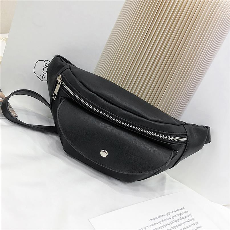 Couro Cintura Bag Bloco de Fanny Mulheres pequeno simples bolso Saco versátil Messenger Ombro sacos pretos 2019 heuptas Wandelen Branco
