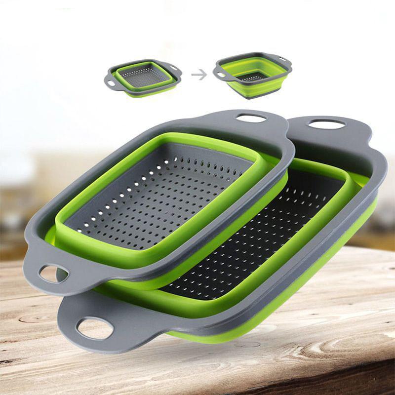 Eco Friendly reutilizable de 2 pedazos de drenaje cesta de fruta vegetal plegable cesta Pp cocina para guardar Gadgets colador