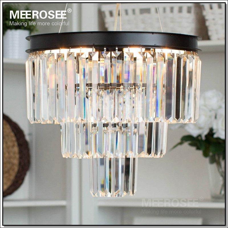 Modern French Crystal Chandelier Light Fixture Black Cottage American White Pendant Suspension Hanging Lamp for Dining Room Indoor Lighting