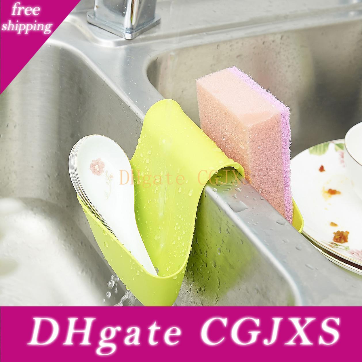 Kitchen Double Saddle Sponge Holder Sink Caddy Soap Holder Storage Sink Basket Brush Organizer Pink /Blue /Green