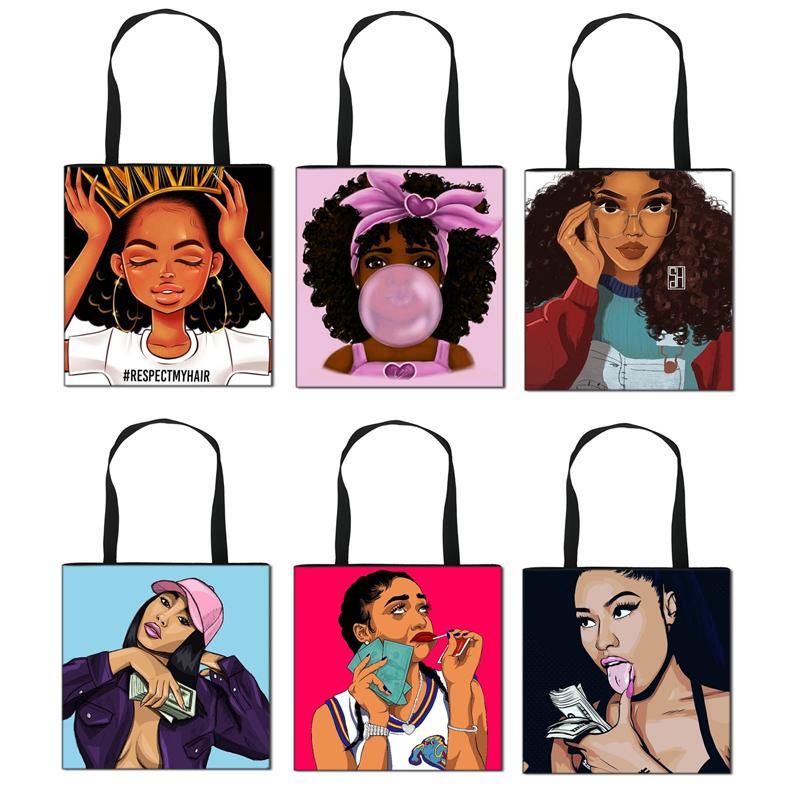 Дамы Печатные сумки Новый стиль 58 цветов Afro Lady Мультфильм хозяйственная сумка Портативный складной посыльного сумки Большой леди мешок плеча 060812