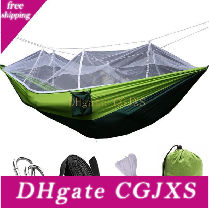 12 colores portátil hamaca con Mosquitera individual -Persona hamaca cama colgante doblado en la bolsa para el recorrido C613