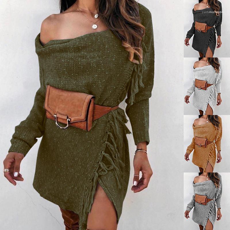 Длинные рукава Мода Женский Одежда кисточкой Женская Дизайнерская Свитера Сплошные цвета Зимние женские свитера