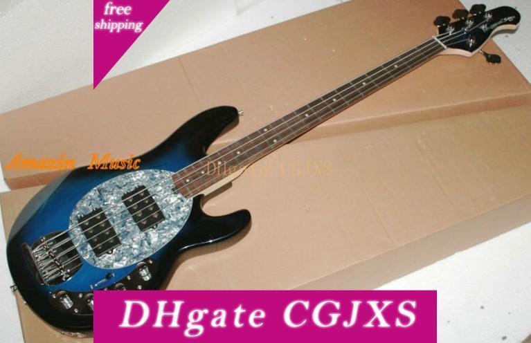Music Man Sabre 4 cordes Erime Boule Stingray Guitare électrique Manche en érable bleu Batterie 9v Micros actifs nacre blanche pickguard