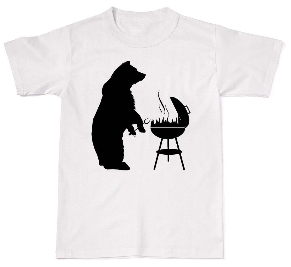 2019 Нового Дешевой Продажа Медведь Грили Смешного Bbq папа отец идея подарок мужская футболка Футболка хлопок