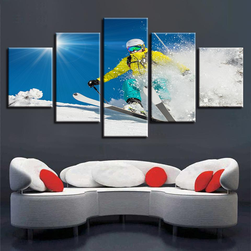 Framework Decor Modern HD Prints Wall Art 5 Pieces Snowboarding Sports Sunshine Scenery Paintings Modular Pictures Canvas Poster