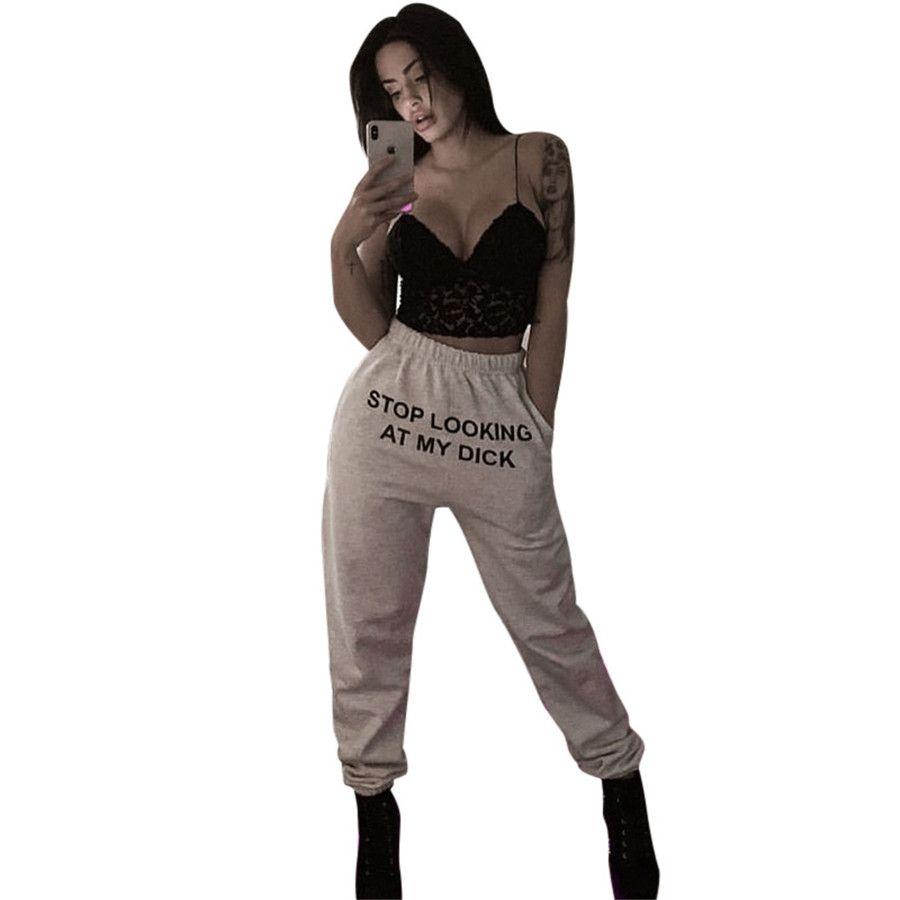 WEPBEL Женщины Полная длина Брюки налюбоваться Мой Dick Письмо печати вскользь Эластичный карандаш брюки брюки # 636