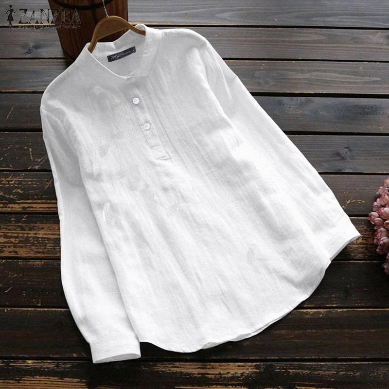 2020 2020 Spring Floral broderie Chemises ZANZEA Casual solides Chemisier manches longues femmes Lapel travail élégant Blusas Tunique Tops # YPJL Chemise