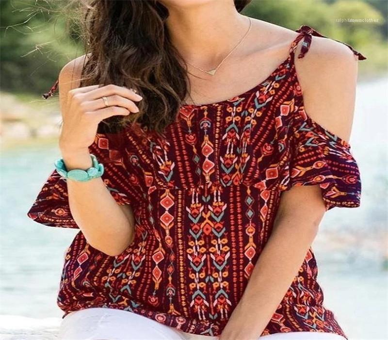 Neck Painéis Casual Designer Womens roupas de verão camisetas Ombro Manga Floral Impresso Tops Feminino Moda Tripulação