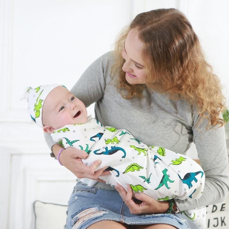 0-6 месяцев Новорожденный Обертывание Пеленальный Антишок младенца Envelop Wrap Одеяло Детские Hat спальный мешок комплект 200922