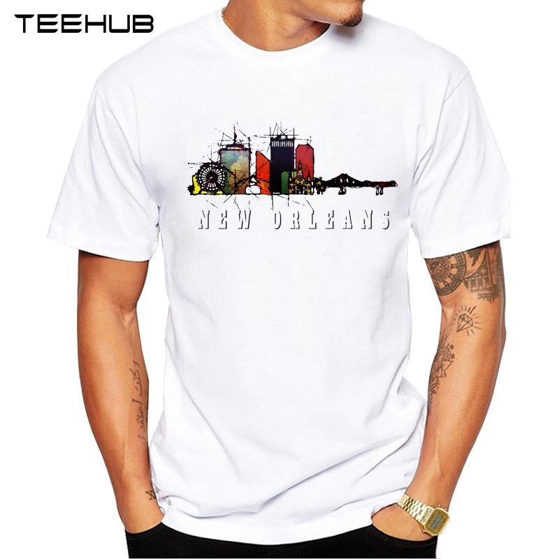 Nuovi arrivi 2019 TEEHUB Cool Fashion New Orleans Louisiana design T-shirt manica corta O-collo degli uomini di Tops Hipster Tee