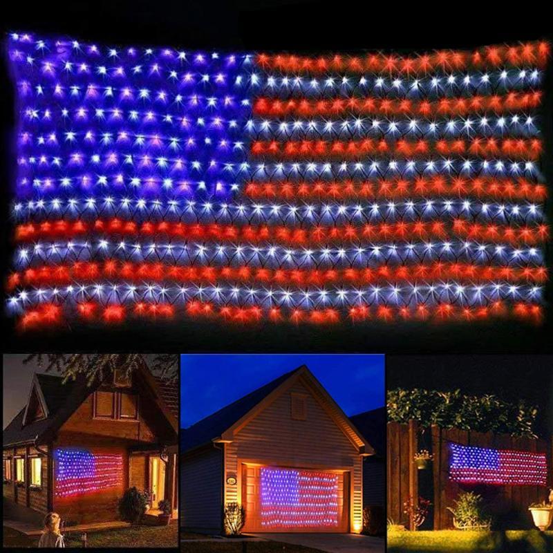 * 3.3ft Amerikan Gelişmiş Bayrağı Işıklar Açık Işıklı ABD Bayrağı Su geçirmez değil IP44 Şerit ışık 420 LED 6.5ft