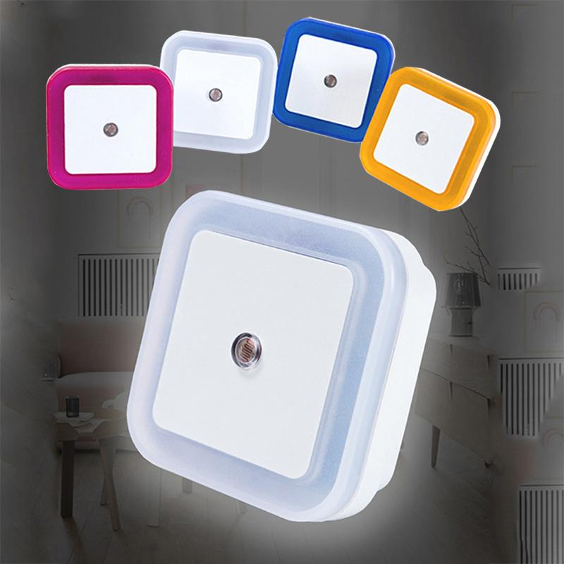 Mini Led Night Light Sensor de Controle Noite Lamp Auto Baby Control Bedroom Lamp novidade Praça Quarto Lamp AC110-220V UE / EUA plug