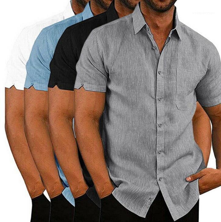 Shirts Modische Solid Color Short Sleeve-Revers-Ausschnitt Hemden Freizeit Coziness Street Style Shirts Sommermens Designer