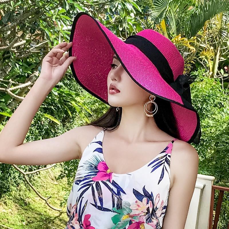 yF7vz paille plage de style coréen balnéaire d'été pour les enfants de paille fraîche grand chapeau à bord soleil épreuve Voyage de pare-soleil tout-match grand chapeau de cool bord Sun s