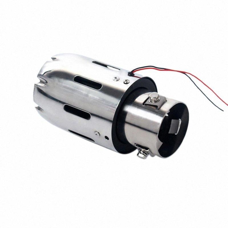 Scarico universale Car System Tip Plain coda Pipes Car Light Blue Modificato singola uscita di scarico tubo di coda gola con luce DPVA #