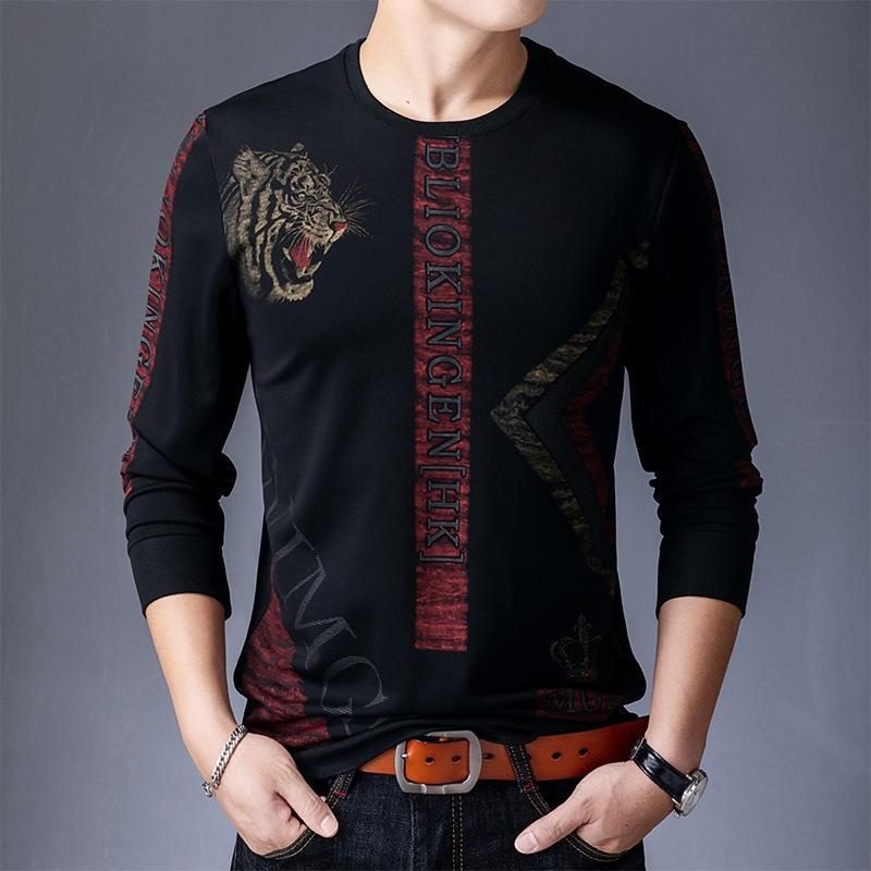 moda giovanile allentata casuale girocollo stile coreano uomini nuovi bXM0e ppM7o maglione stampa Autunno marchio di abbigliamento maschile a lungo manica del maglione
