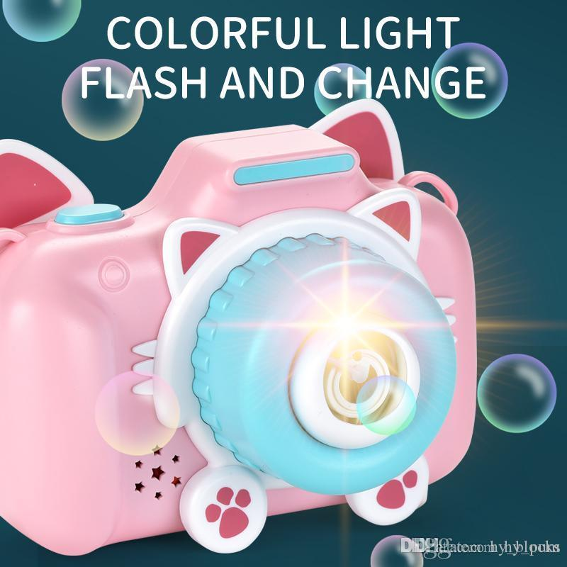 Cute Cat Camera Automatic Music Bubble Machine Children Toys Soap Blow Bubbles Outdoor Bubbler Maker Kids Birthday Gifts Game