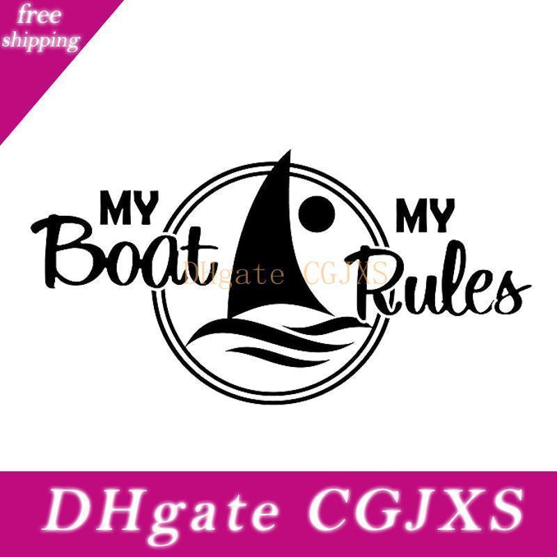 12 0,2 * 6 .2cm My Boat meine Regeln Sailboat Aufkleber Aufkleber Cool Graphics Autozubehör Motorrad-Sturzhelm Car Styling-Auto-Aufkleber