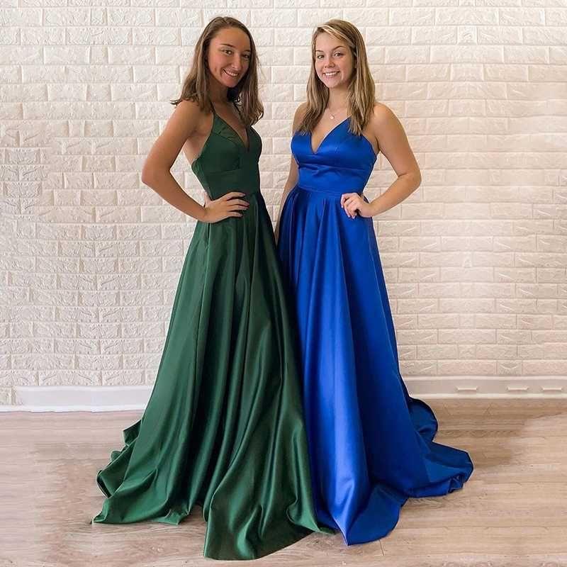 Eightale abito da sera per il vestito da promenade della cinghia di spaghetti di laurea V-Neck Royal Blue Verde Smeraldo partito suknie wieczorowe