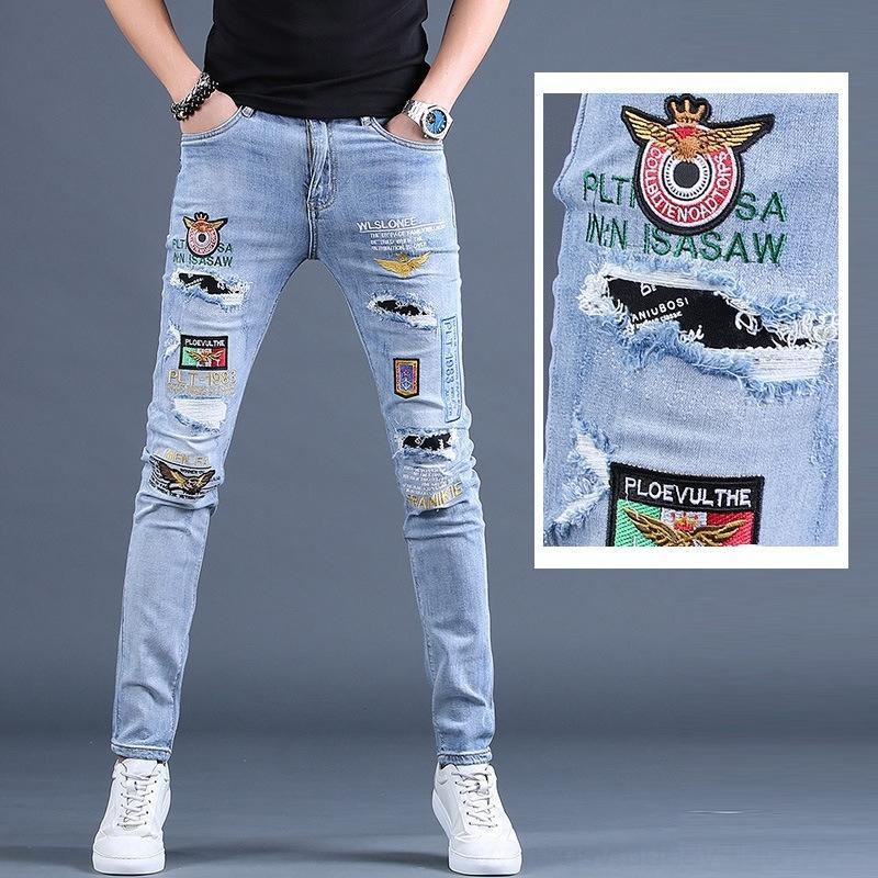 xaXbS Sommer dünn bestickt trendy Loch fit Männer Casual Füße dünne kleine Hosen Bettler beiläufige Hosen Jeans und Jeans Persönlichkeit