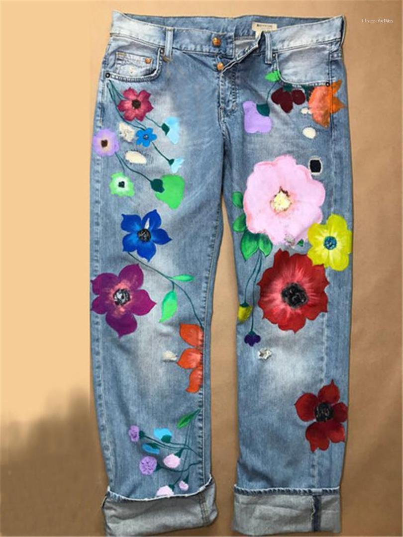 Streetwear Moda ropa femenina Flores vaqueros de las mujeres más el tamaño colorido recta mujeres delgadas en los pantalones vaqueros de mezclilla casual