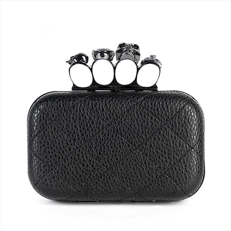 Damen Tasche Mode Schädel Tag Kupplung Taschen Ring Faux Abend Heiße Schulterhandtasche Neu WMWHP