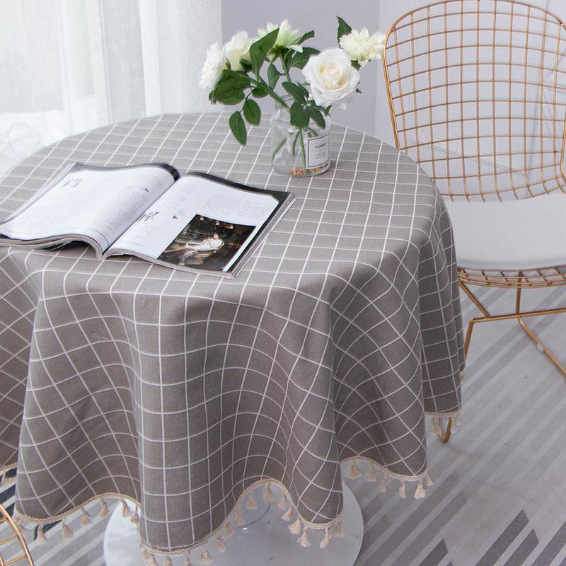 Cotone e lino Tovaglia rotonda olio a prova di romantico fiore di stampa Tovaglia esterna Mat Decorazione Manteles copertura di tabella