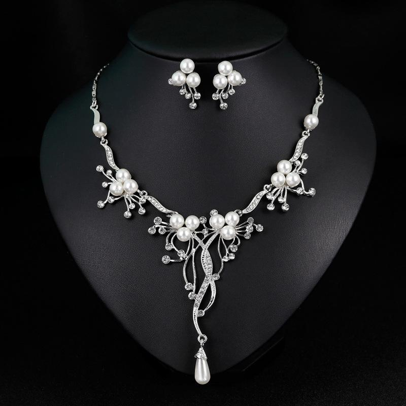 Crystal Necklace Earrings Sets for Wedding Bridal Silver Plated Rhinestone Pearl Fashion Jewelry Set Trend Jewellery for Women Girls Lady