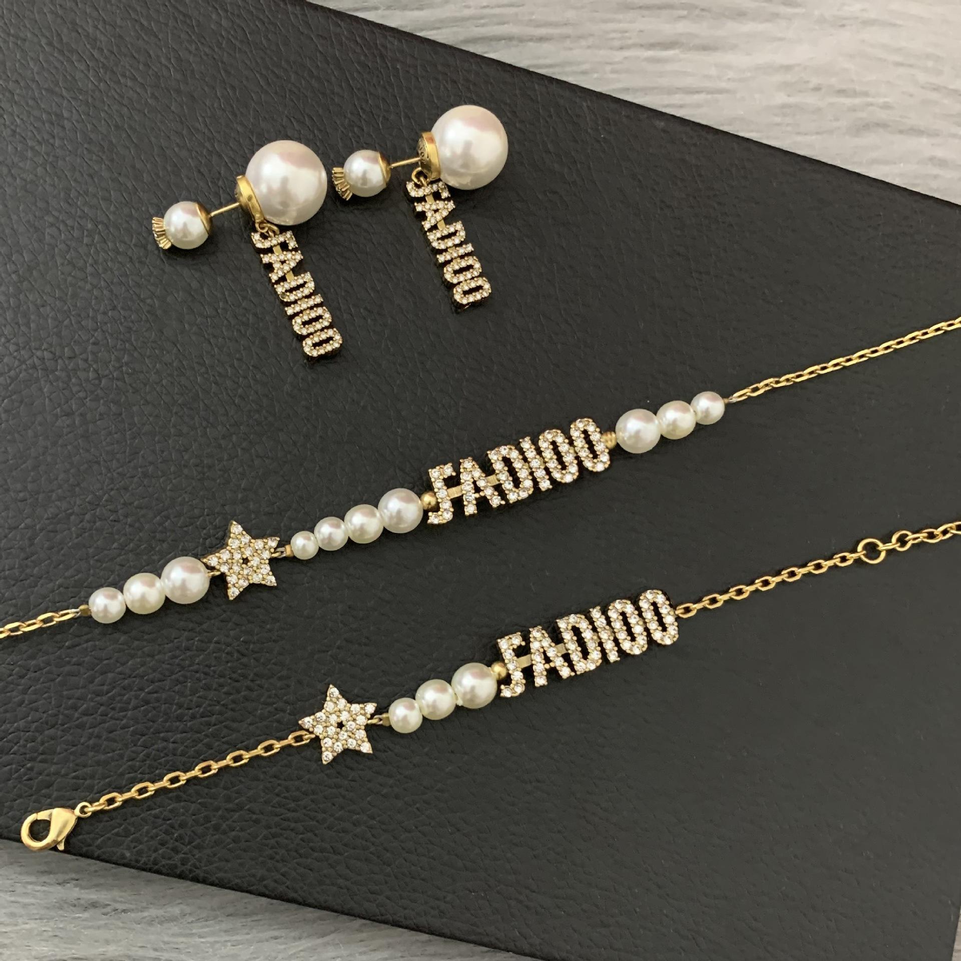 D Nuova lettera orecchini perla femminile dijia internet celebrity stella lettera collana versione alta versione Braccialetto