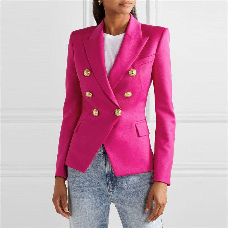 2020 breasted doble-Principio de la primavera Moda Houndstooth Blazer mujeres de las señoras Blazers Chaquetas Chaqueta Oficina Mujer Blazer Femenino