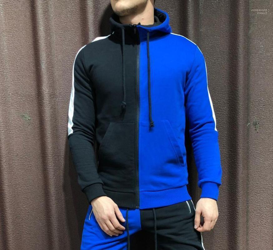 Цвета Лоскутная Zipper Up Конструктор Пуловеры Кофты Осень Новые толстовки Мужская одежда весна