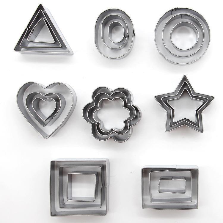 Выпечка Инструменты 24pcs / Set Геометрический шаблон из нержавеющей стали Cookie Mold Star Сердце цветка Cutter DIY Cookie Mold Графический DH0532 T03