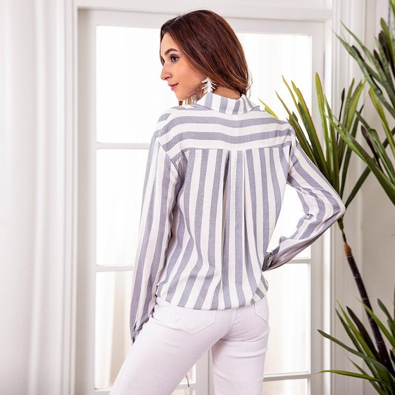 K6nGj nuovo a strisce di modo casuale lungo manicotto delle donne dell'arco Nuovo strisce pulsante casual shirt da donna a maniche lunghe fiocco di moda Top Butte