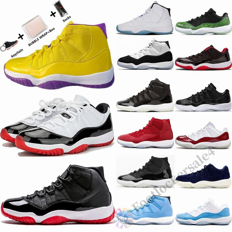 With Box Size 13 25th Anniversary Concord 45 Low Bred 11 Mens Basketball Shoes Jumpman 11s Legend Blue Vast Grey Wink Like Sports Sneakers