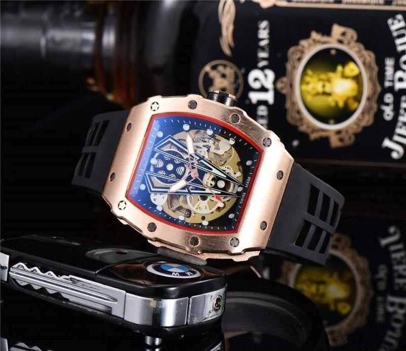 حركة جودة رجال الرياضة ساعة اليد الكلاسيكية تصميم الفولاذ المقاوم للصدأ رجالي ساعات رياضية التلقائية الميكانيكية ووتش الشريط المطاط ساعة MONTRE