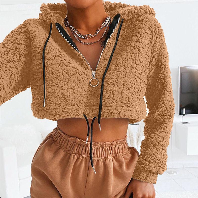 Streetwear piel de imitación de las mujeres sudadera con capucha caliente suave piel Outwear de manga larga con capucha de cultivos con capucha con cordón del suéter de invierno de las mujeres