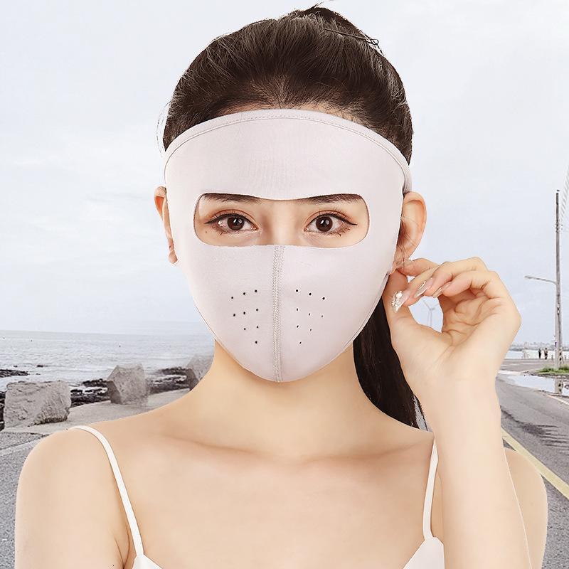 Summer Riding Sun-preuve Ice Silk Cotton Full Face Yang Chaton voiture électrique anti-poussière Masque pour hommes et femmes